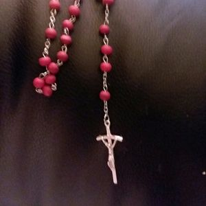 Jewelry - Beautiful rosary silver with red wooden beads